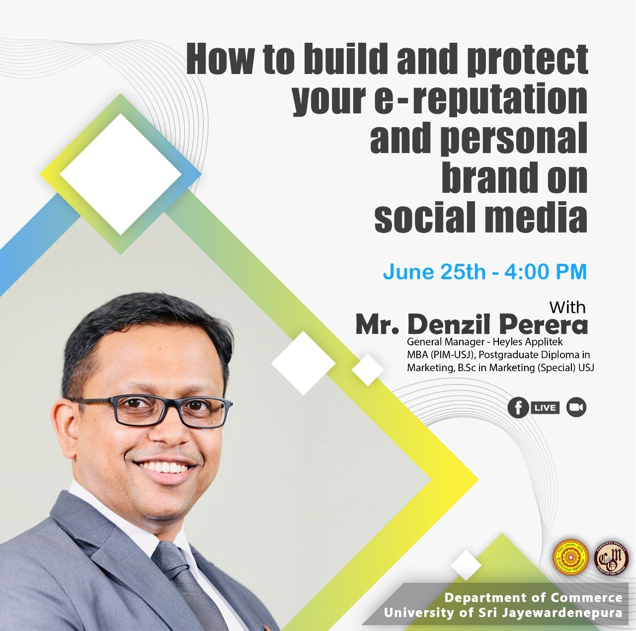 """Workshop """"How to build and protect your e-reputation and personal"""" on 25th June 2021 at 4.00pm onwards."""